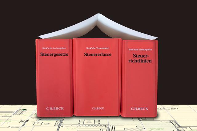Illustration Steuerrechtbücher als Haus